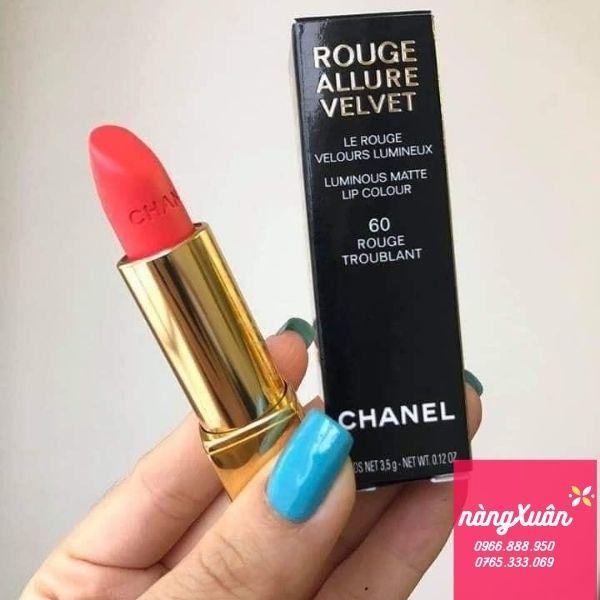 Son Chanel 60 Rouge Troublant màu cam san hô chính hãng giá bao nhiêu