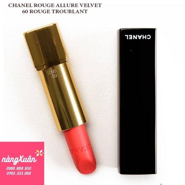 Son Chanel 60 Rouge Troublant Rouge A;;ure Velvet màu cam san hô