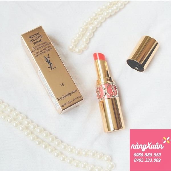 Son YSL 15 Corail Intuitive Rouge Volupte Shine - Màu Cam Hồng Nude