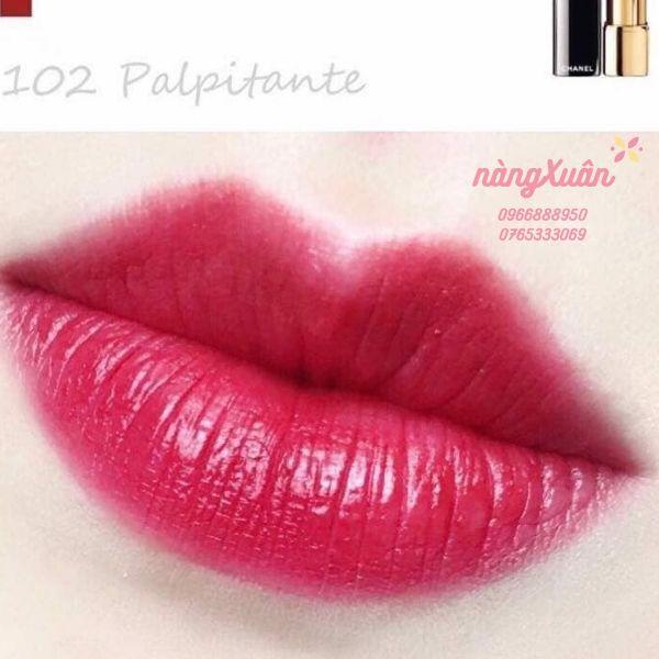 Swatch son Chanel 102 Palpitante màu đỏ hồng