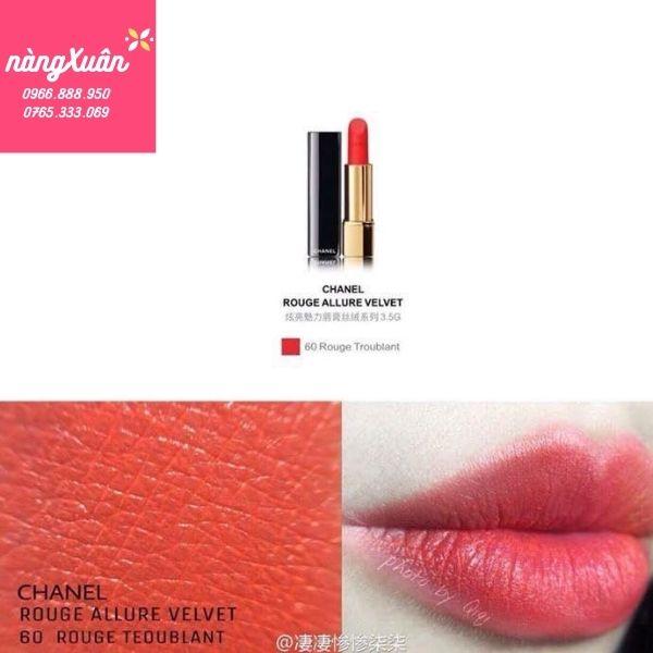 Swatch son Chanel 60 Rouge Troublant màu cam san hô chính hãng
