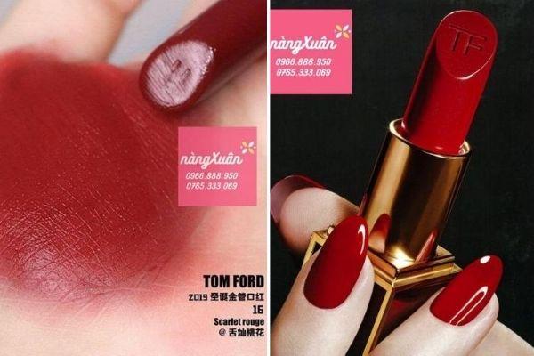Swatch và review son Tom Ford 16 Scarlett Rouge màu đỏ tươi chính hãng giá bao nhiêu