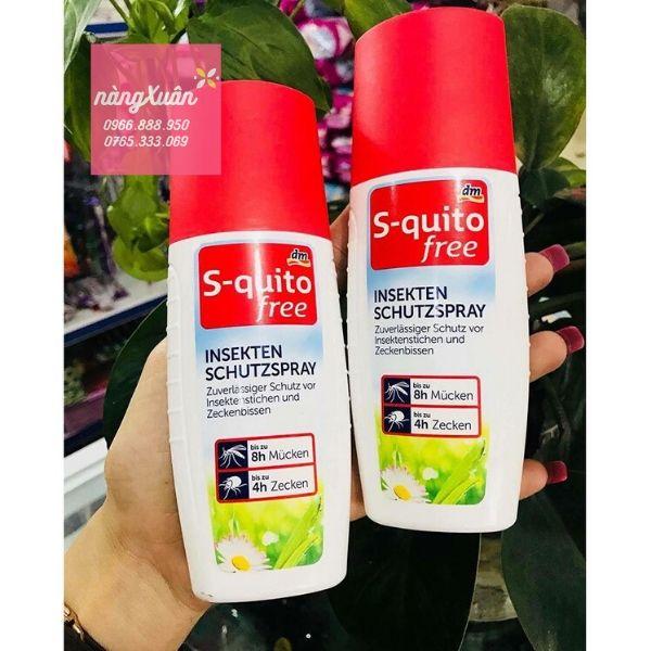 S-quito Free Insekten Schutzspray 100ml chính hãng xách tay Đức.