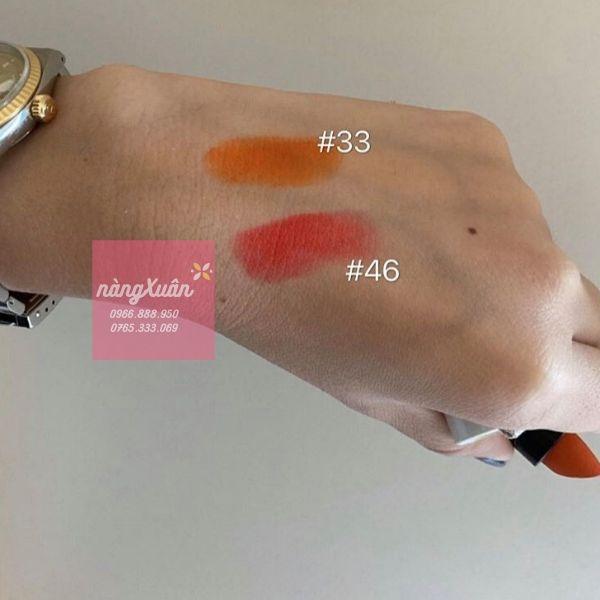 Swatch màu son HERMES 46 và màu 33