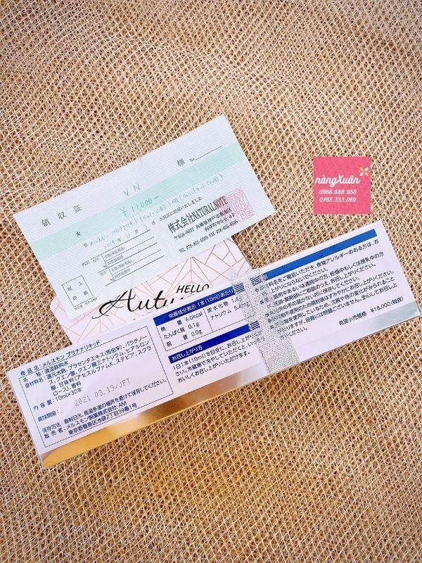 Nhau thai ngựa Melsmon Platinum Liquid Placenta của Nhật