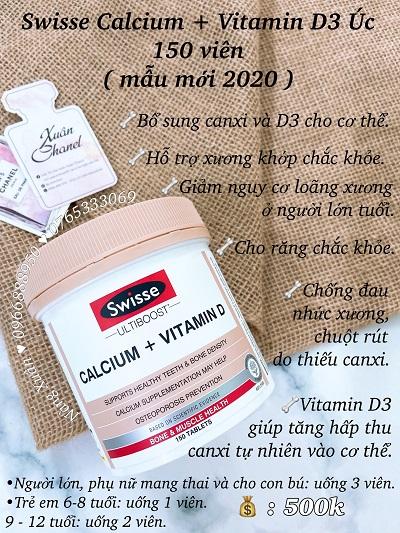 Viên uống bổ sung canxi Swisse Calcium + Vitamin D của Úc có sẵn tại NÀNG XUÂN AUTHENTIC.