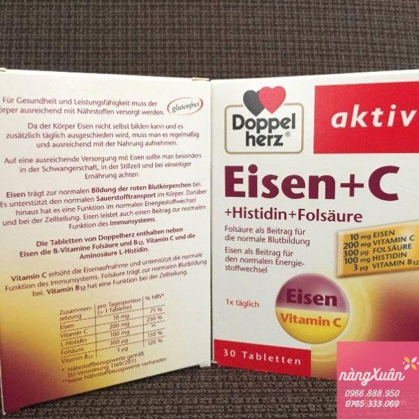 Viên uống bổ sung Sắt Doppelherz Aktiv Eisen + C chính hãng nội địa Đức.
