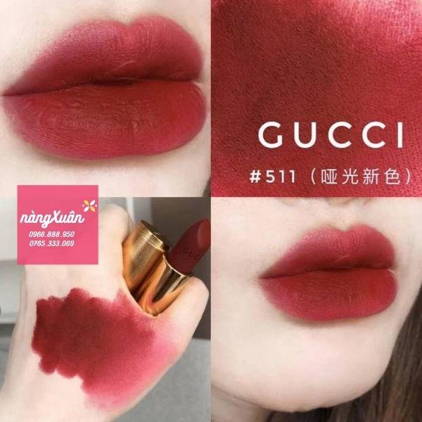 Swatch màu son Đỏ Củ Dền của Gucci Madge Red