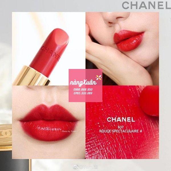Review Swatch son Chanel 837 Luminous Intense màu đỏ tươi