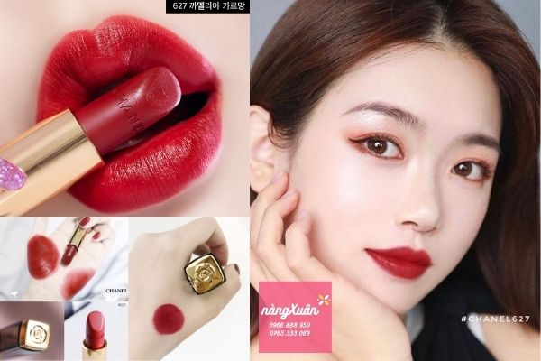 Son Chanel 627 Carmin Rouge Allure Velvet Camelia màu đỏ lạnh
