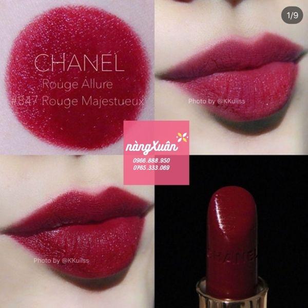 Swatch Son CHANEL Luminous Intense 847 Rouge Majestueux– Màu Đỏ Rượu