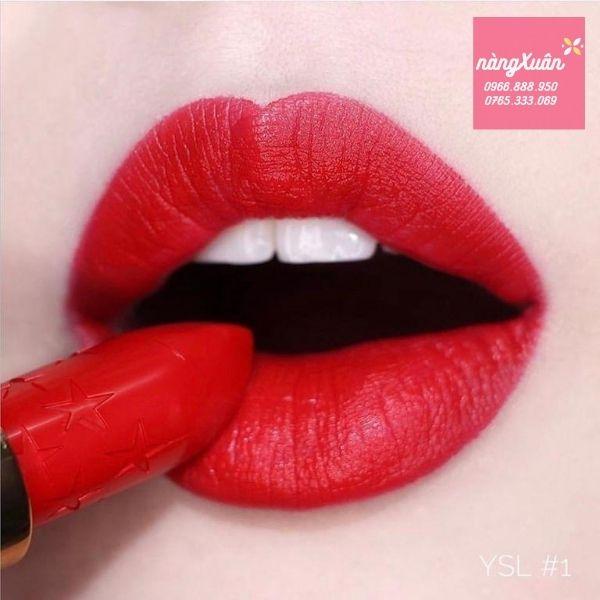 Ảnh Swatch son YSl 01 Le Rouge màu Đỏ Tươi