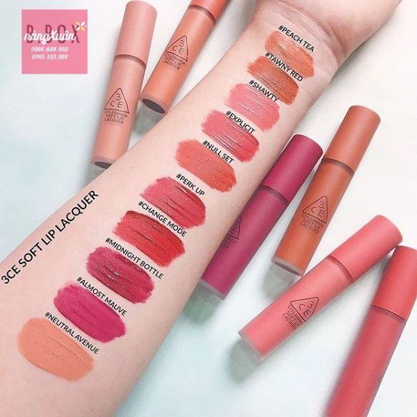 Bảng màu son kem 3CE Soft Lip Lacquer