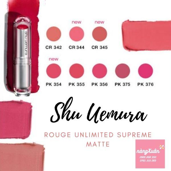 Bảng màu son SHU UEMURA vỏ trắng tone hồng