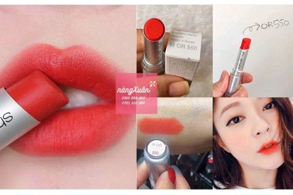 Shu Uemura 550 Lipstick màu cam đỏ