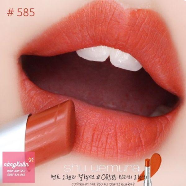 Shu 585 Lipstick màu cam cháy