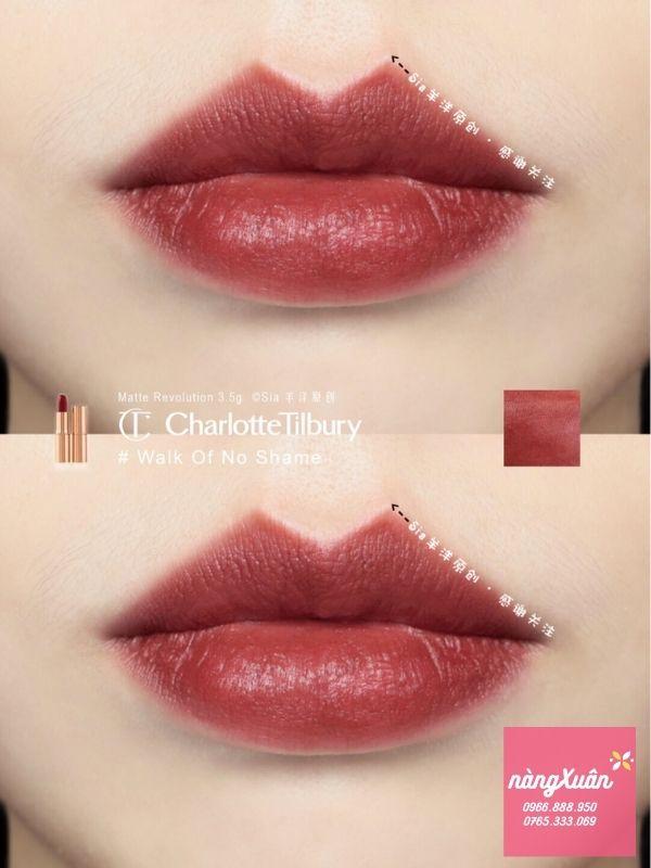 Swatch son Charlotte Tilbury Walk Of No Shame màu đỏ nâu đẹp