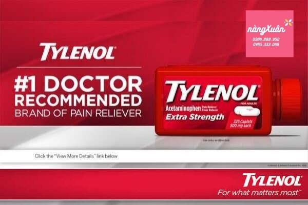 Thuốc uống giảm đau hạ sốt Tylenol Acetaminophen 500mg 325 viên.